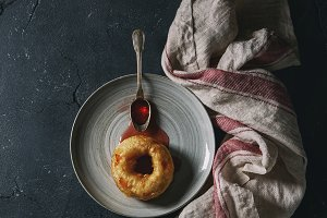 Homemade donut with jam