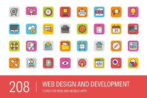 208 Web Design and Development Icons