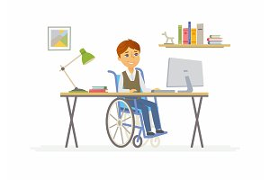 Online education - illustration of disabled school boy at home computer