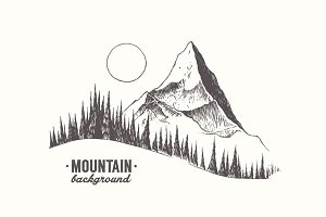 Mountain with a fir forest and moon