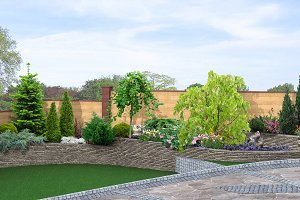 Terraced backyard landscaping