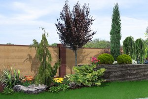 Yard landscaping 3d render