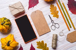 mobile phone and crafting tools