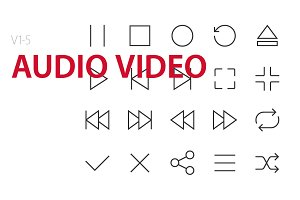 100 Audio Video UI icons