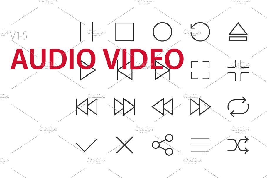 100 Audio Video UI icons