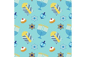 Cute festive seamless pattern Happy Hanukkah in traditional colors