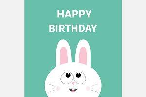 White bunny rabbit. Happy Birthday.