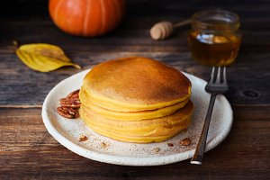 Pumpkin pancakes for breakfast