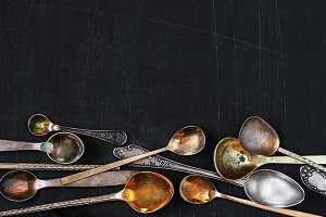 Background with vintage spoons