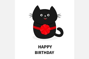 Black cat red bow. Happy Birthday