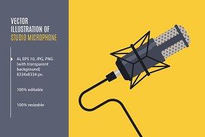 Studio microphone. Vector+PNG+JPG