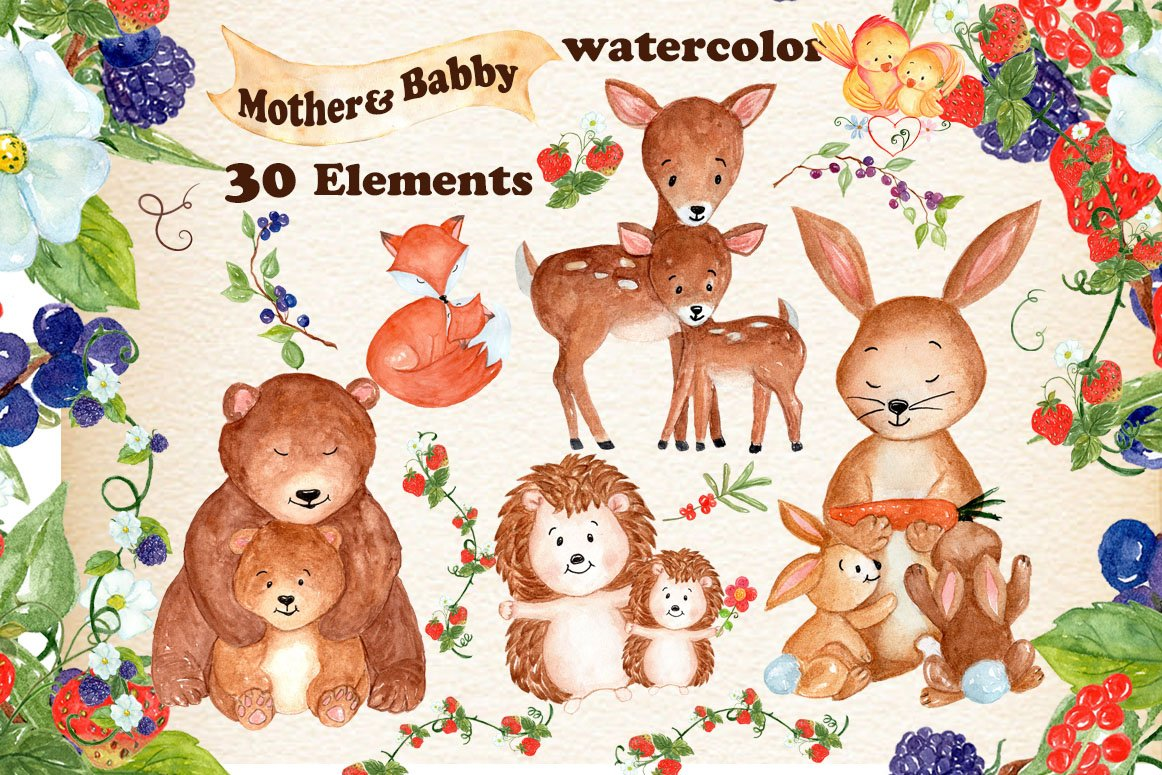 Mother and baby animals clipart ~ Illustrations ~ Creative ...