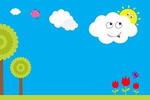 Cartoon background  Sun cloud bird