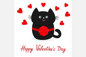 Valentines Day Black cat Hearts