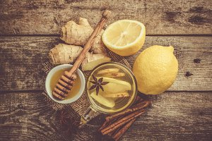 Ginger tea with lemon and honey