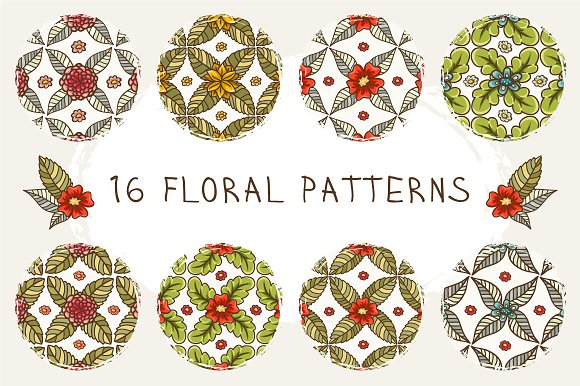 Set of 16 floral patterns in Patterns