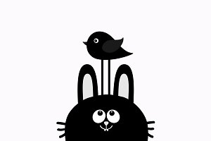 Black rabbit looking up to bird