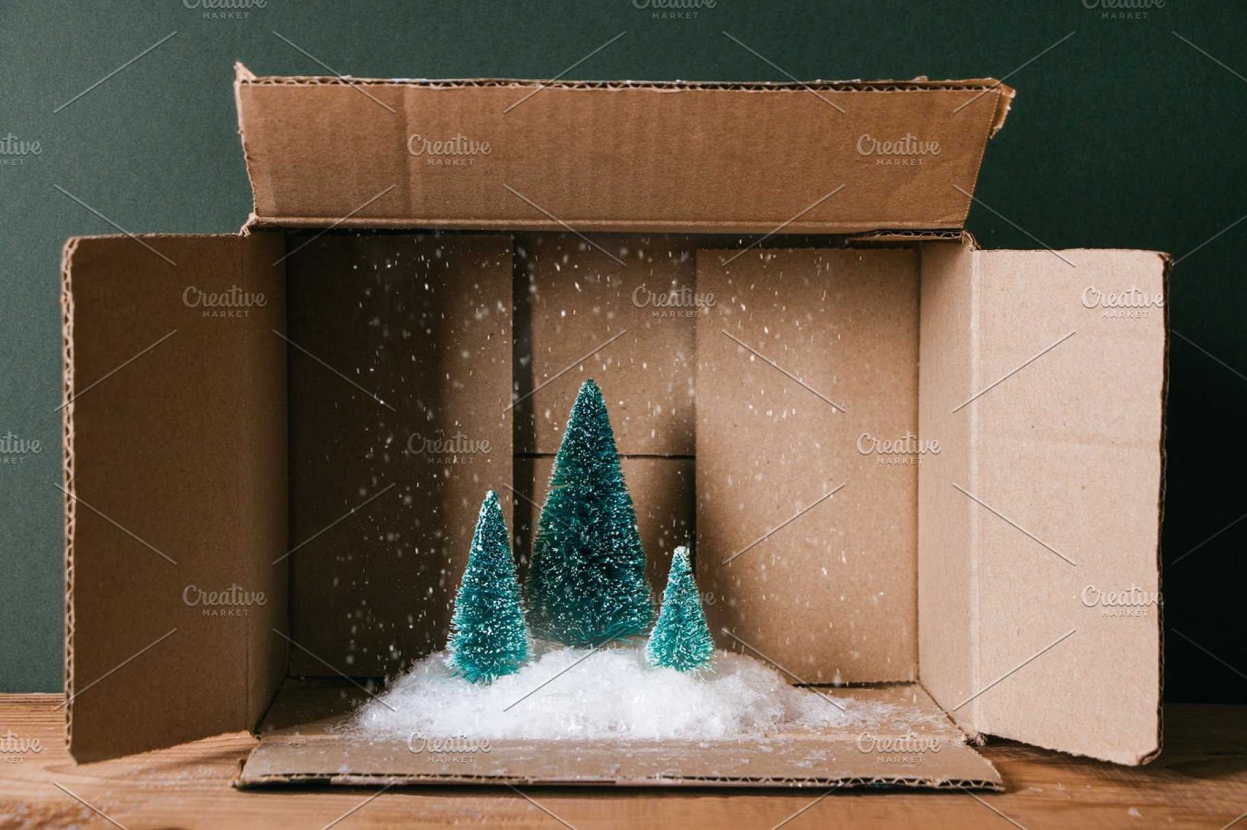 Christmas Inside A Cardboard Box Holiday Photos Creative Market