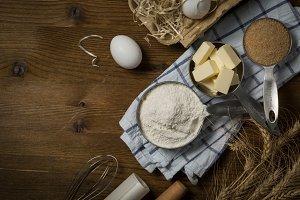 Baking ingredients in measuring cups
