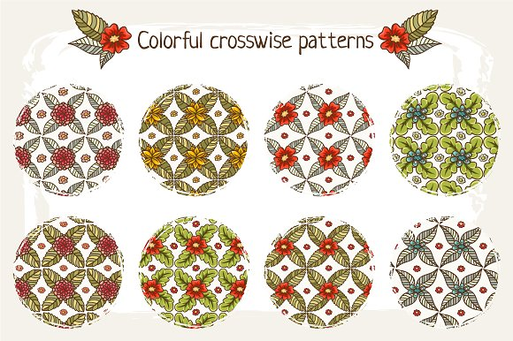 Set of 16 floral patterns in Patterns - product preview 1