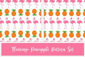Pineapple Pink flamingo pattern set