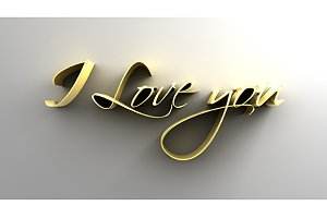 I Love You - Gold 3D Text