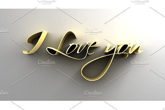 I Love You - Gold 3D Text - Graphics