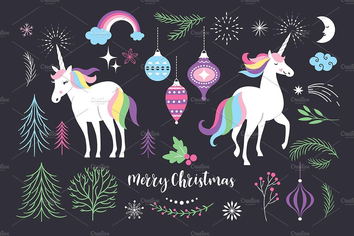 christmas with unicorn illustrations creative market - Christmas Unicorn