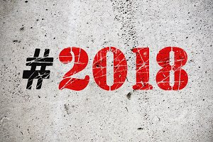 New Year 2018 hashtag