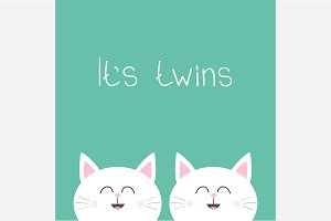 Its twins. Greeting card. Cat rabbit