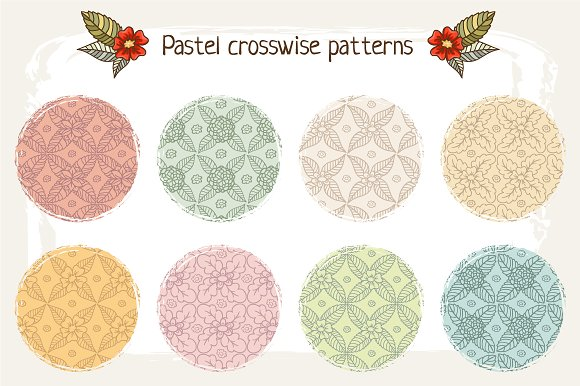 Set of 16 floral patterns in Patterns - product preview 2