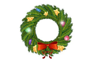 Vector Green Christmas wreath with