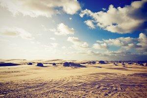 Landscape of desert with blue sky