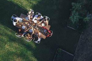 Aerial view of friends toasting
