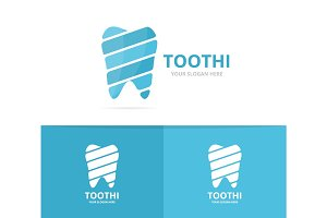 Vector of tooth logo combination. Dental and oral symbol or icon. Unique clinic and medical logotype design template.