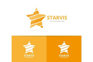 Vector of star logo combination. Leader and celebrate symbol or icon. Unique achievement and luxury logotype design template.