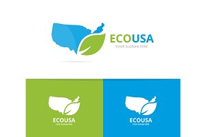 Vector of usa and leaf logo combination. America and eco symbol or icon. Unique united state and organic logotype design template.