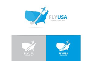 Vector of usa and plane logo combination. America and travel symbol or icon. Unique united state and flight logotype design template.