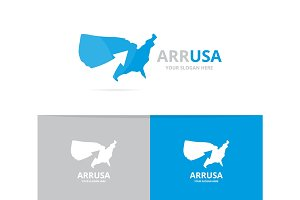 Vector of usa and arrow up logo combination. America and growth symbol or icon. Unique united state and upload logotype design template.