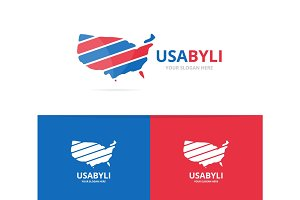 Vector of usa logo combination. America and country symbol or icon. Unique united state logotype design template.