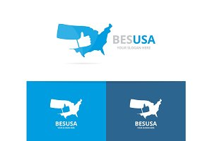 Vector of usa and like logo combination. America and best symbol or icon. Unique united state and choice logotype design template.
