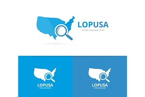 Vector of usa and loupe logo combination. America and magnifying symbol or icon. Unique united state and search logotype design template.