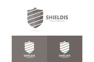 Vector of shield logo combination. Security and protect symbol or icon. Unique law and guard logotype design template.