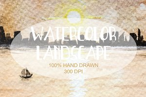 Watercolor Hand Drawn Landscape 02