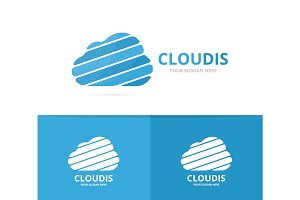 Vector of cloud logo combination. Loading and download symbol or icon. Unique upload and network logotype design template.