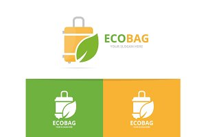 Vector of bag and leaf logo combination. Baggage and eco symbol or icon. Unique travel and organic logotype design template.