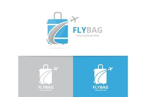 Vector of bag and plane logo combination. Baggage and tourism symbol or icon. Unique travel and flight logotype design template.