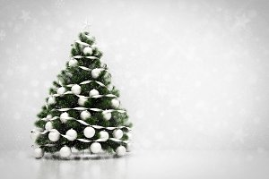 Christmas tree. Snowing and glitter background