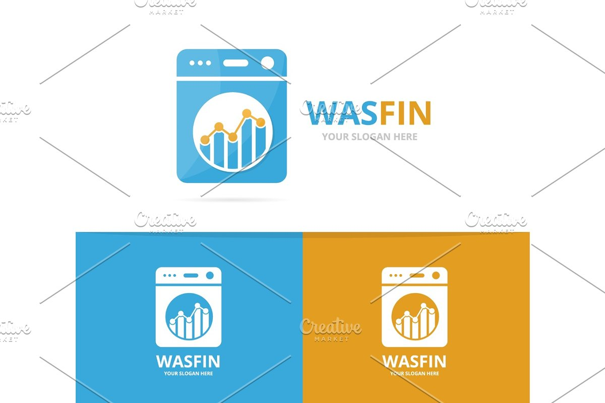 Vector of laundry and graph logo combination  Washing machine and finance  symbol or icon  Unique washer and chart logotype design template