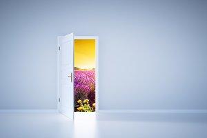 Light shining from open door. Entrance